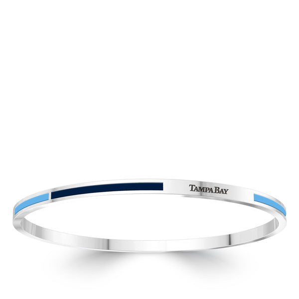 Tampa Bay Rays Engraved Two-Tone Enamel Bracelet In Sterling Silver