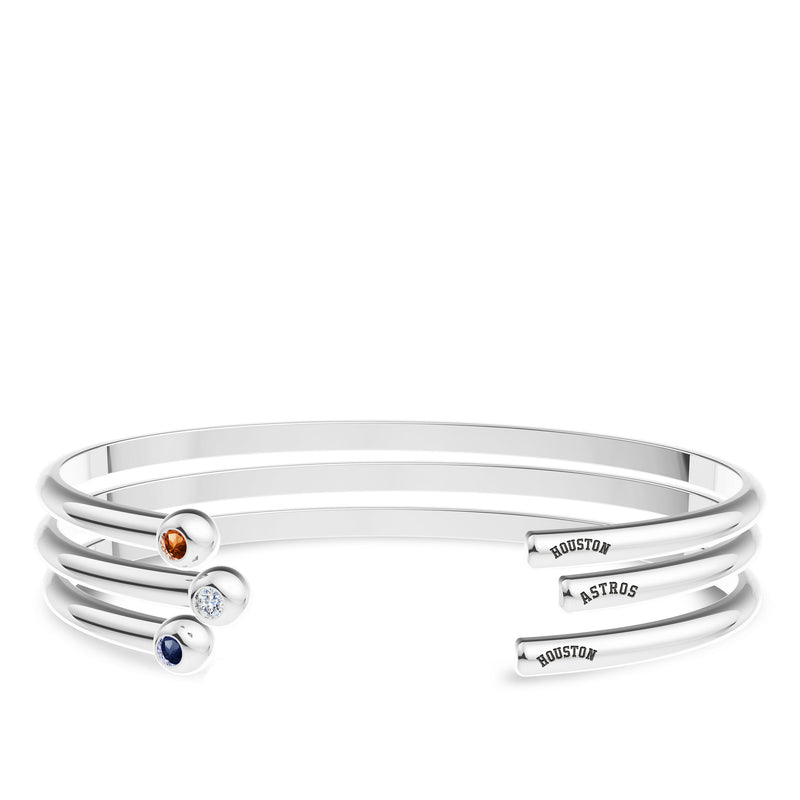 Houston Astros Diamond Engraved Cuff Bracelet In Sterling Silver