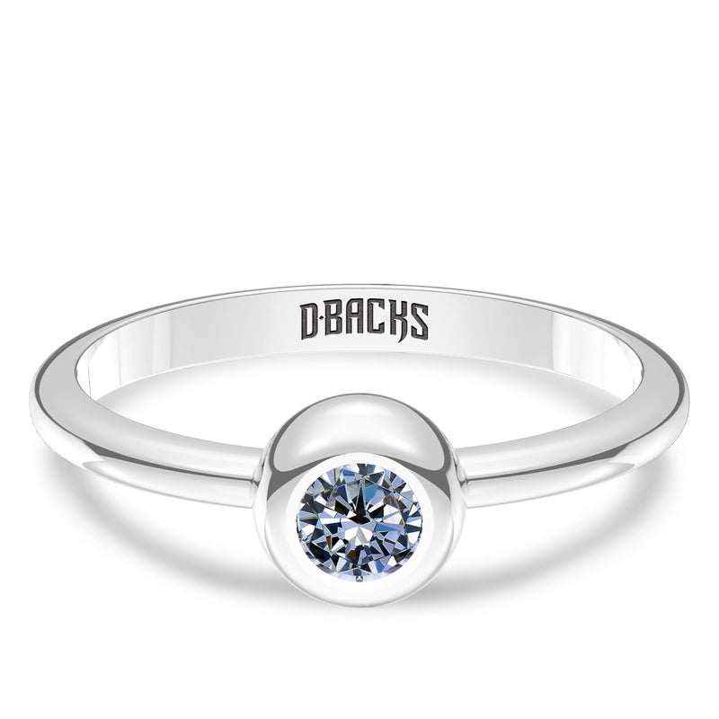 Arizona Diamondbacks White Sapphire Engraved Ring In Sterling Silver
