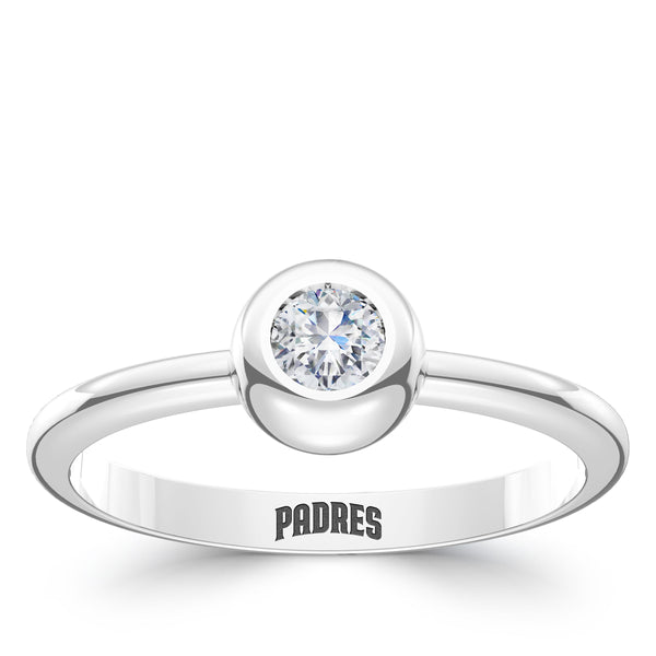 San Diego Padres Diamond Engraved Ring In Sterling Silver