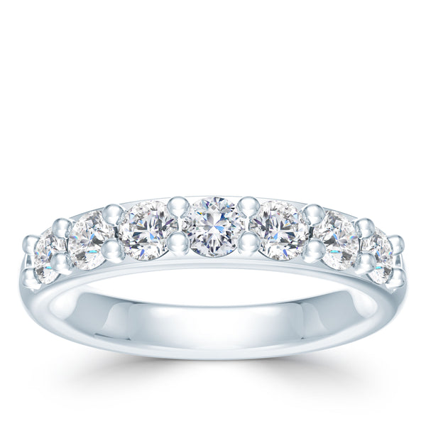 Bixlers Prong Set Diamond Shared Prong Wedding Band In 14K White Gold
