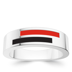 Texas Tech University Asymmetric Enamel Ring In Sterling Silver