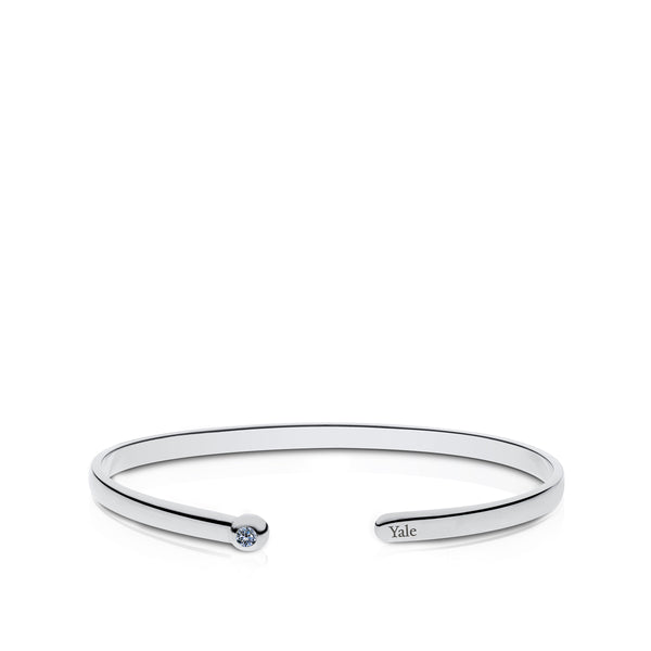 Yale University White Sapphire Engraved Cuff Bracelet In Sterling Silver