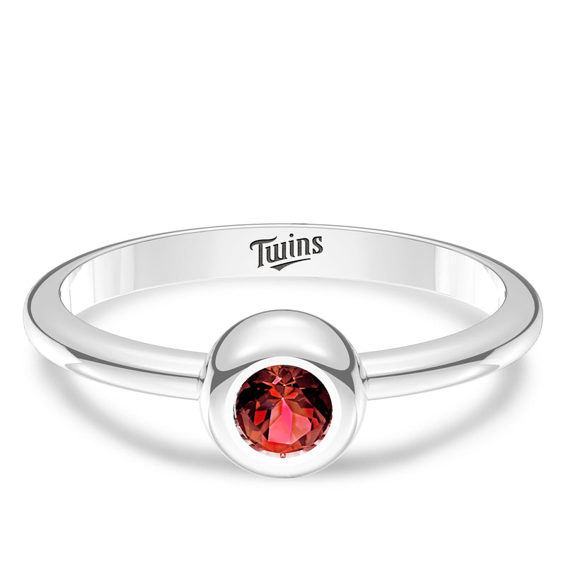 Minnesota Twins Ruby Engraved Ring In Sterling Silver