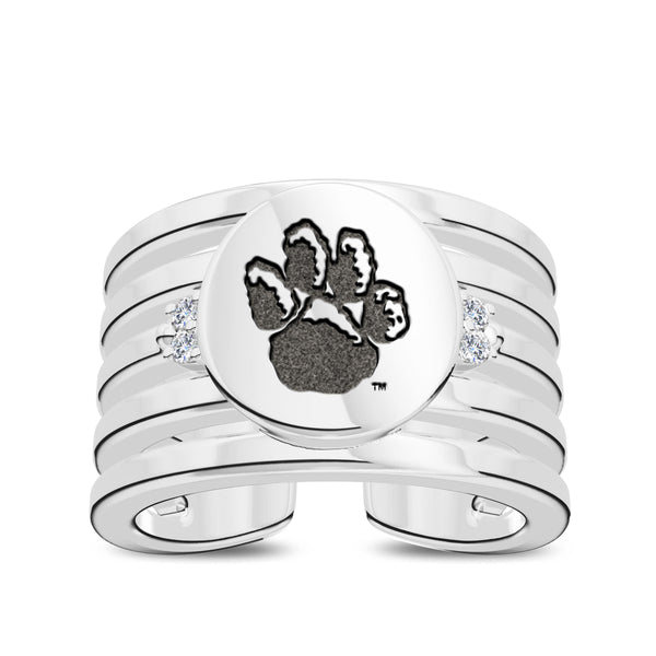 University Of Pittsburgh Diamond Logo Engraved Multiband Ring In Sterling Silver