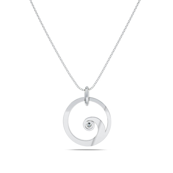 Bixlers Nautical Diamond Wave Pendant In Sterling Silver