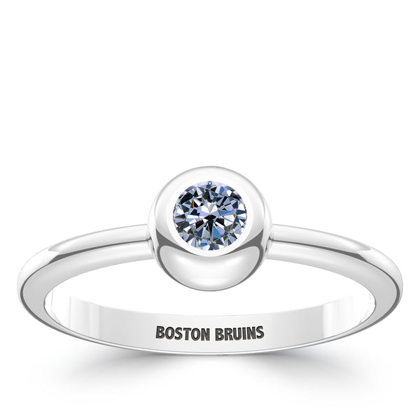 Boston Bruins White Sapphire Engraved Ring In Sterling Silver