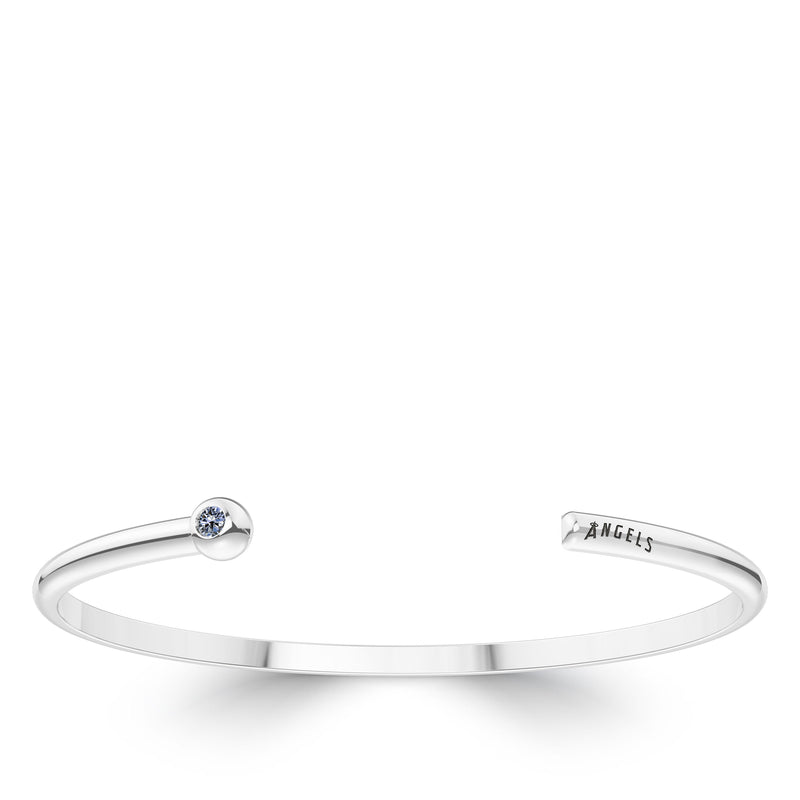 Los Angeles Angels White Sapphire Engraved Cuff Bracelet In Sterling Silver