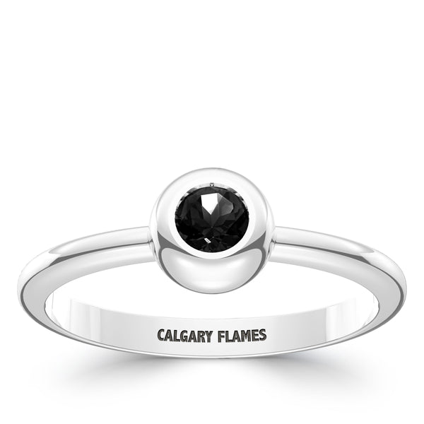 Calgary Flames Onyx Engraved Ring In Sterling Silver