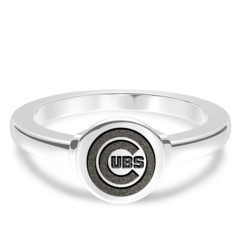 Chicago Cubs Logo Engraved Ring In Sterling Silver