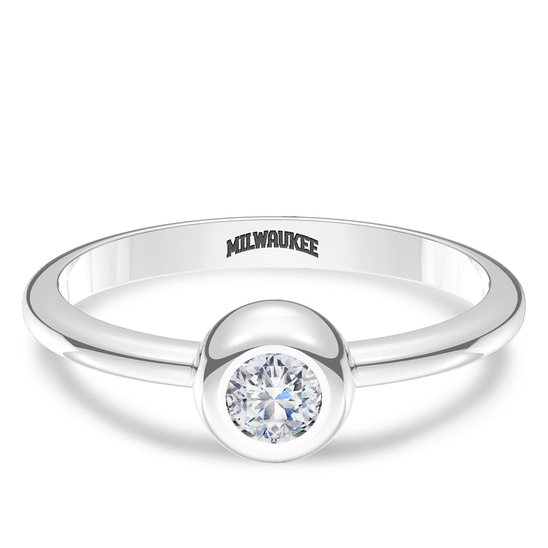 Milwaukee Brewers Diamond Engraved Ring In Sterling Silver