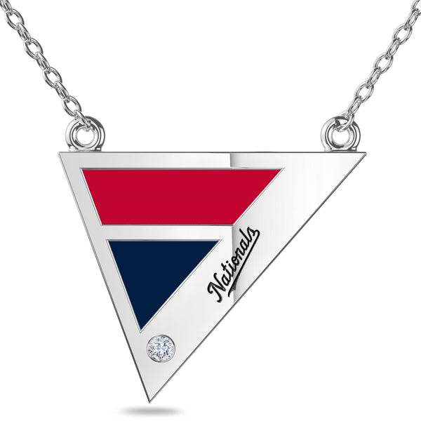 Washington Nationals Geometric Necklace In Sterling Silver