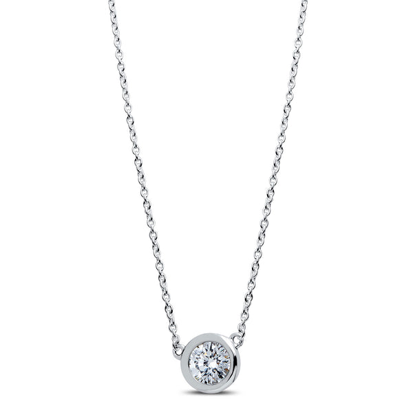 Bixlers Dew Drop Diamond Bezel Necklace In 14K White Gold