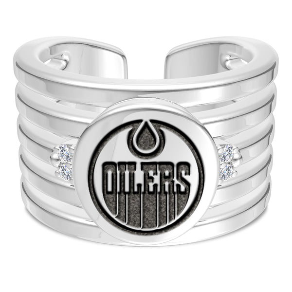 Edmonton Oilers Diamond Logo Engraved Multiband Ring In Sterling Silver