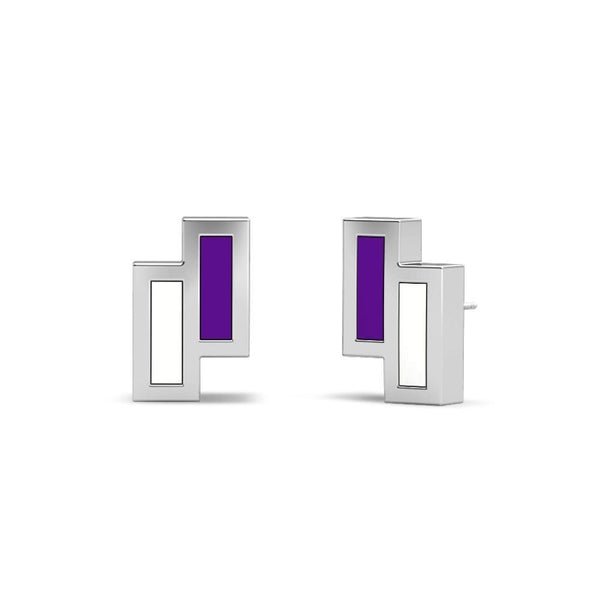 New York University Asymmetric Enamel Stud Earring In Sterling Silver