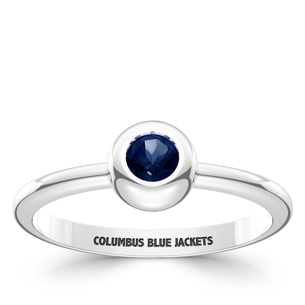 Columbus Blue Jackets Sapphire Engraved Ring In Sterling Silver