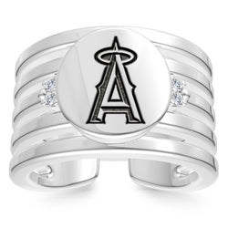 Los Angeles Angels Diamond Logo Engraved Multiband Ring In Sterling Silver