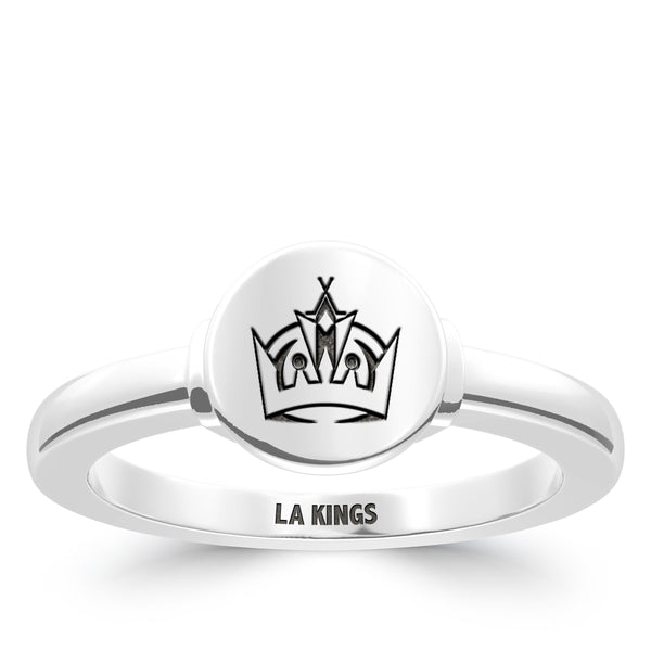 Los Angeles Kings Logo Engraved Ring In Sterling Silver
