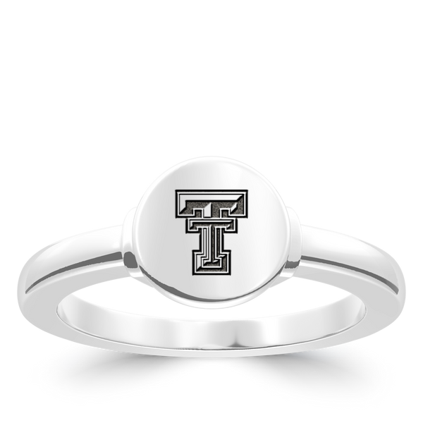 Texas Tech University Logo Engraved Ring In Sterling Silver