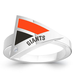 San Francisco Giants Diamond Engraved Geometric Ring In Sterling Silver
