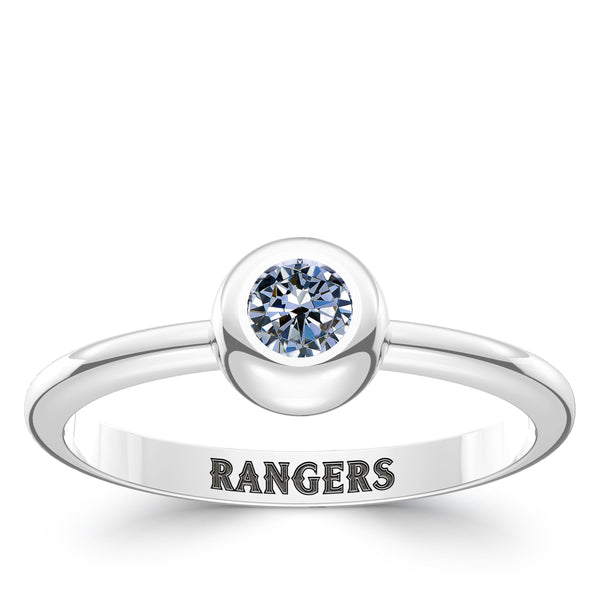 Texas Rangers White Sapphire Engraved Ring In Sterling Silver