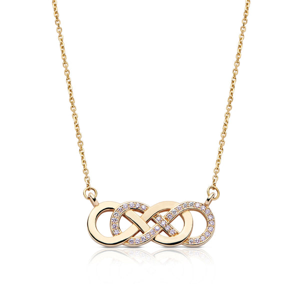 Bixlers Pure Love Diamond Double Infinity Necklace In 14K Yellow Gold