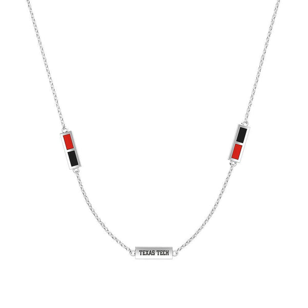 Texas Tech University Triple Station Necklace In Sterling Silver