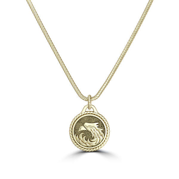 "Khabib ""The Eagle"" Nurmagomedov Rope Small Pendant In 14K Yellow Gold"