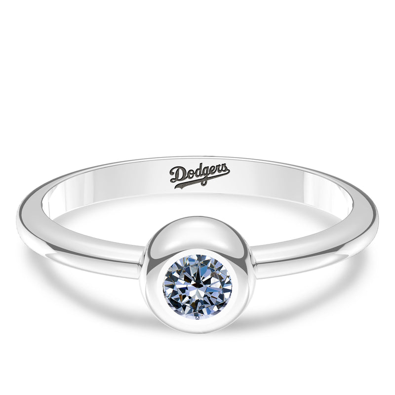 Los Angeles Dodgers White Sapphire Engraved Ring In Sterling Silver