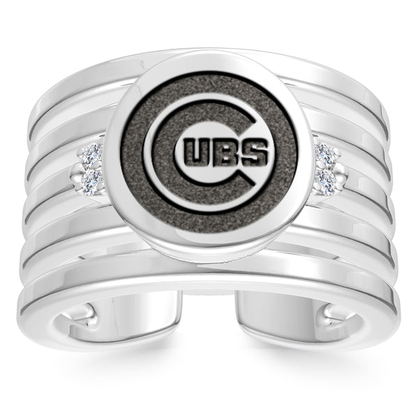 Chicago Cubs Diamond Logo Engraved Multiband Ring In Sterling Silver