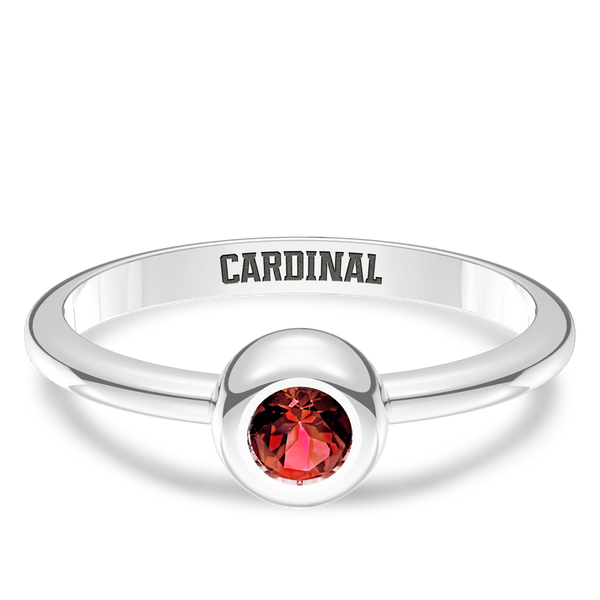 Stanford University Ruby Engraved Ring In Sterling Silver