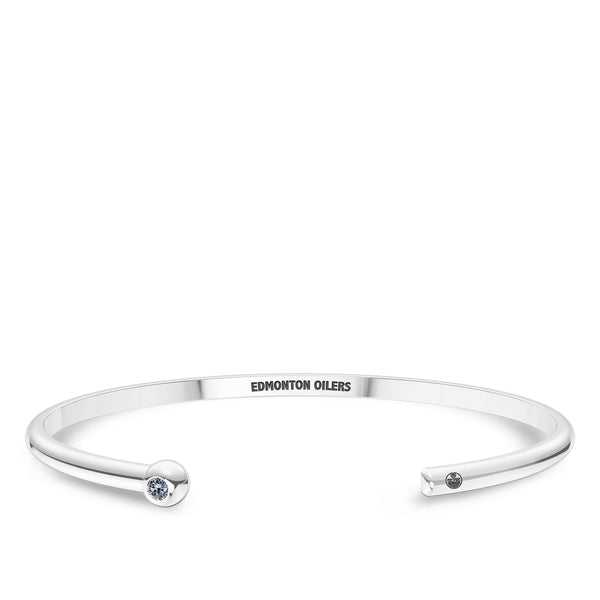 Edmonton Oilers White Sapphire Engraved Cuff Bracelet In Sterling Silver