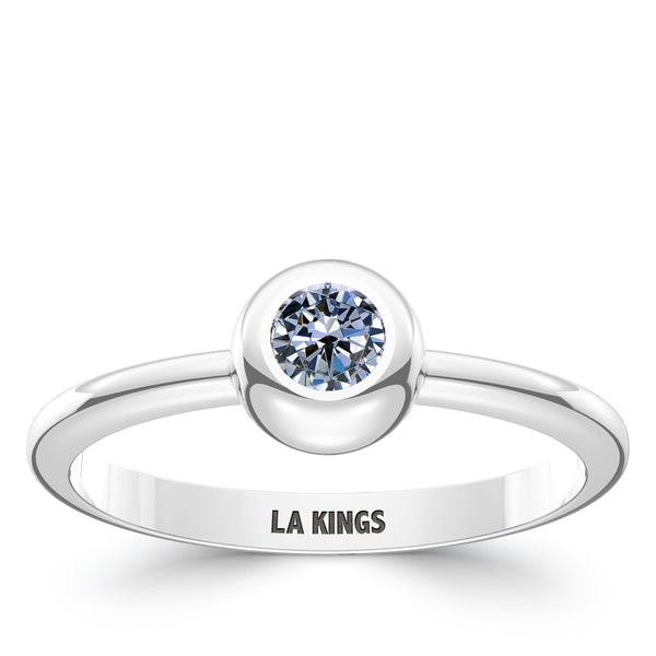 Los Angeles Kings White Sapphire Engraved Ring In Sterling Silver