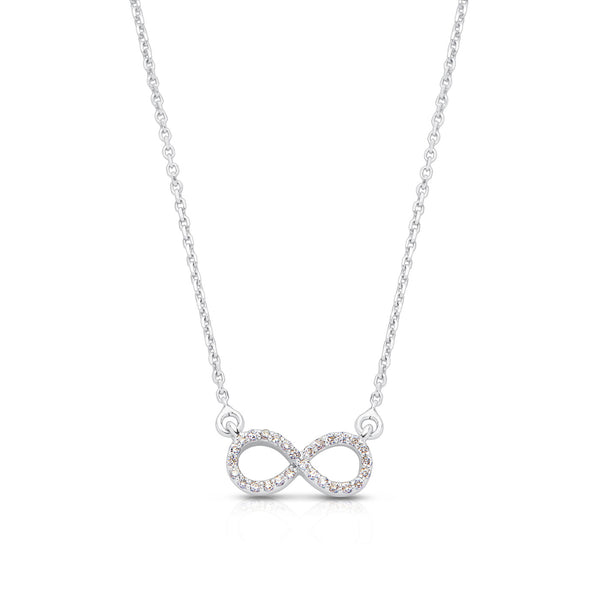 Bixlers Pure Love Diamond Infinity Necklace In 14K White Gold