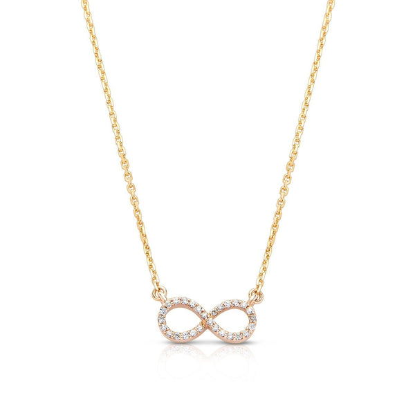 Bixlers Pure Love Diamond Infinity Necklace In 14K Yellow Gold