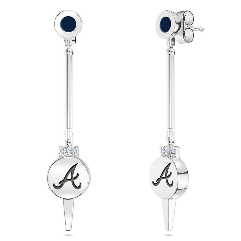 Atlanta Braves Diamond Logo Engraved Enamel Dangle Earring In Sterling Silver