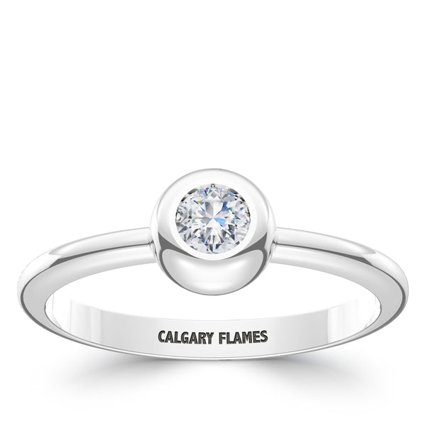 Calgary Flames Diamond Engraved Ring In Sterling Silver