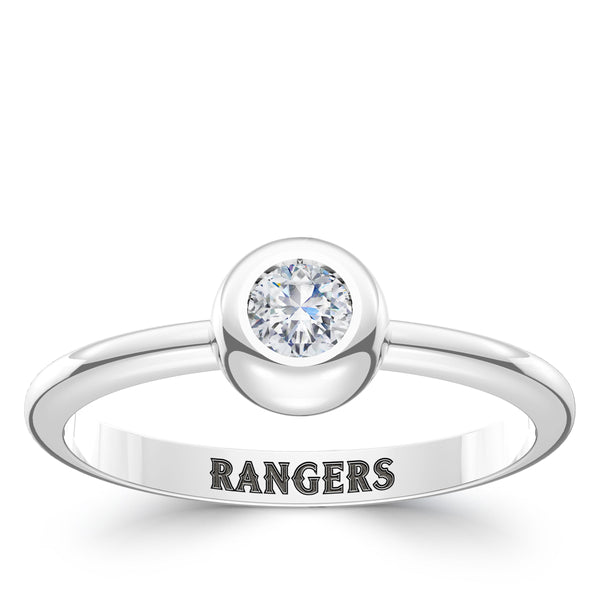 Texas Rangers Diamond Engraved Ring In Sterling Silver