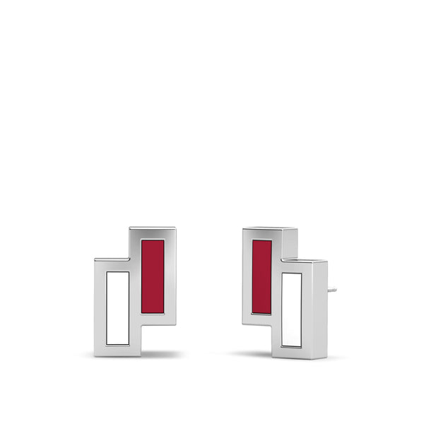 Stanford University Asymmetric Enamel Stud Earring In Sterling Silver