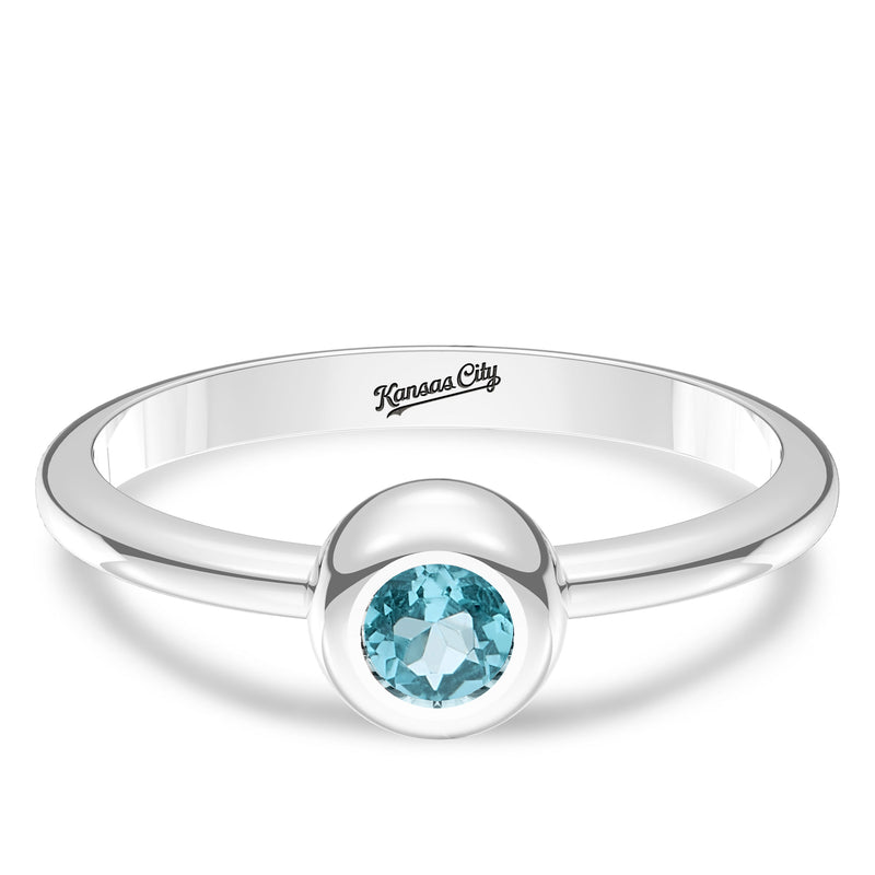 Kansas City Royals Swiss Blue Topaz Engraved Ring In Sterling Silver