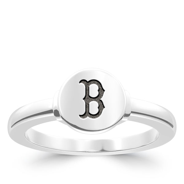 Boston Red Sox Logo Engraved Ring In Sterling Silver