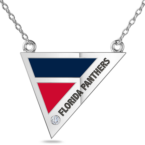 Florida Panthers Geometric Necklace In Sterling Silver