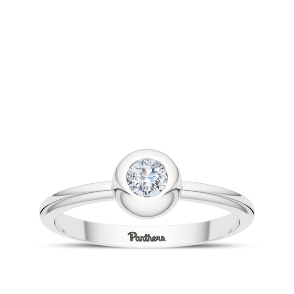 University Of Pittsburgh Diamond Engraved Ring In Sterling Silver