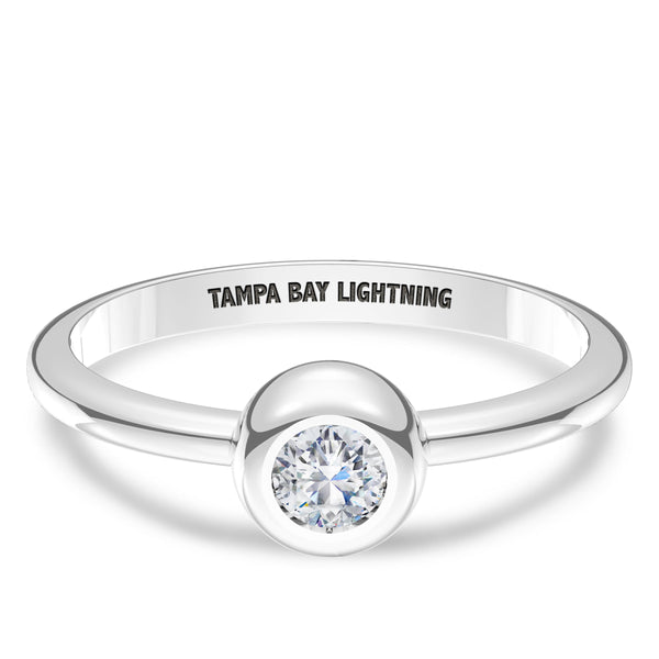 Tampa Bay Lightning Diamond Engraved Ring In Sterling Silver