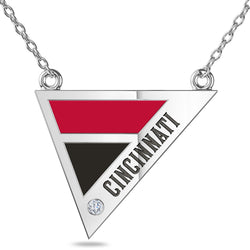 Cincinnati Reds Geometric Necklace In Sterling Silver
