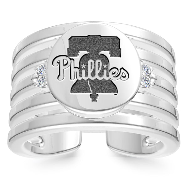 Philadelphia Phillies Diamond Logo Engraved Multiband Ring In Sterling Silver