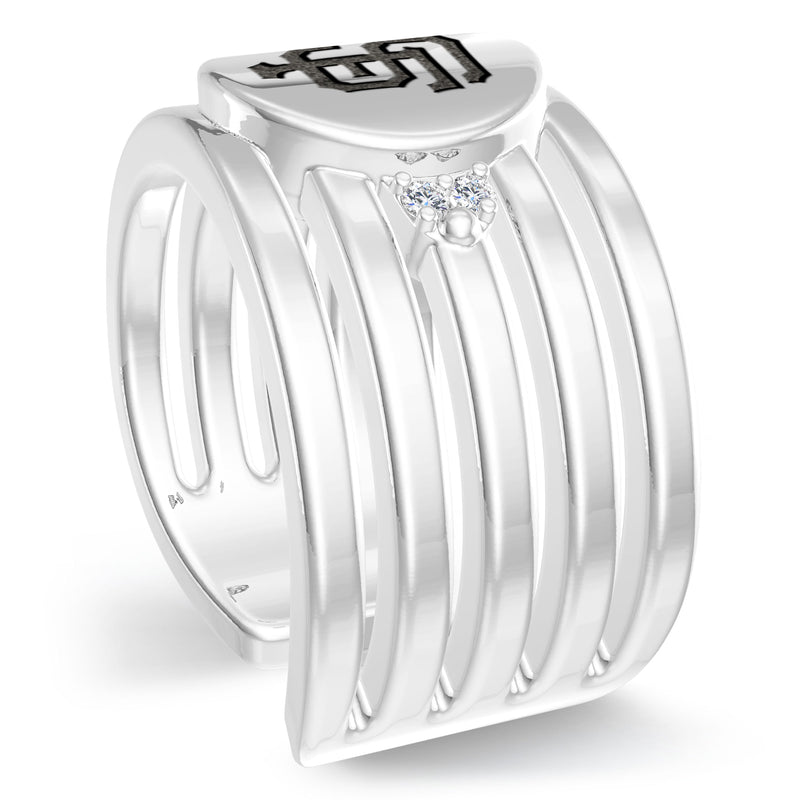 San Francisco Giants Diamond Logo Engraved Multiband Ring In Sterling Silver