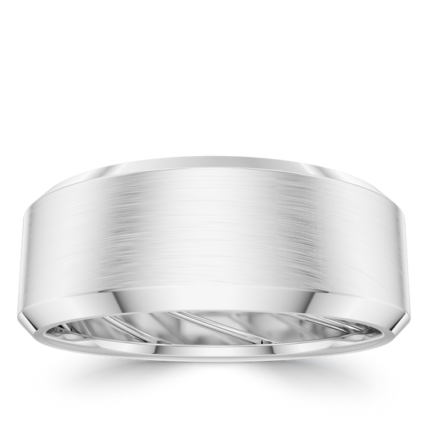 Bixlers Men's Beveled Wedding Band In Sterling Silver