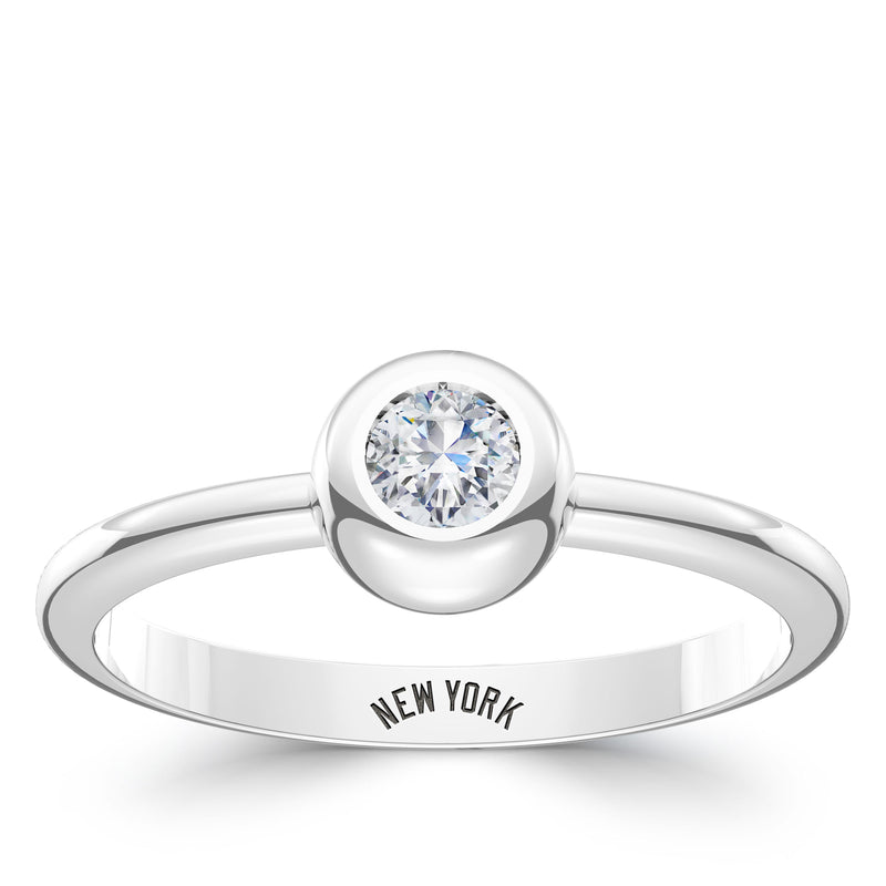 New York Yankees Diamond Engraved Ring In Sterling Silver