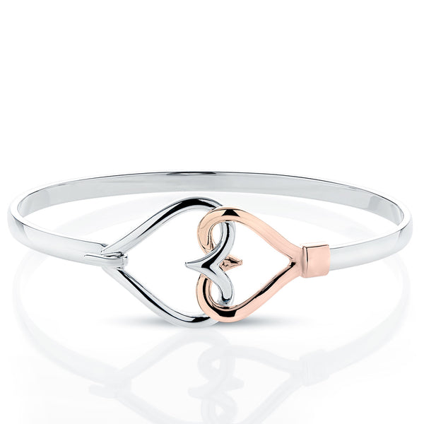 Bixlers Pure Love Diamond Double Heart Bangle In Sterling Silver & 14K Rose Gold